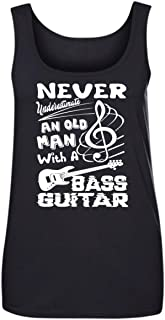 Old Man with Bass Guitar T Shirt, Women Tank Tops