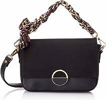 Club Aldo Faux Leather Patterned Tie Flap-Front Crossbody Bag for Women - Black
