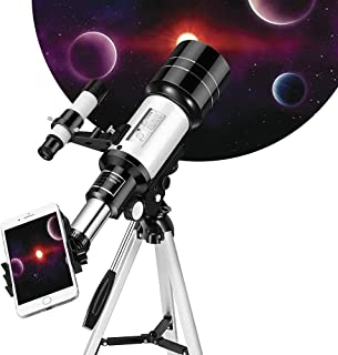 Kixre Telescope for Kids Adults Astronomy Beginners, 150X HD Refractor Telescope for Astronomy, 70mm Telescope with Tripo...