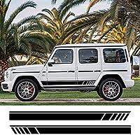 2pcsカーサイドボディステッカーSUVストライプデカールメルセデスベンツG55G63 AMG W463G500クラスG350D光沢のある白のオートチューニングアクセサリー