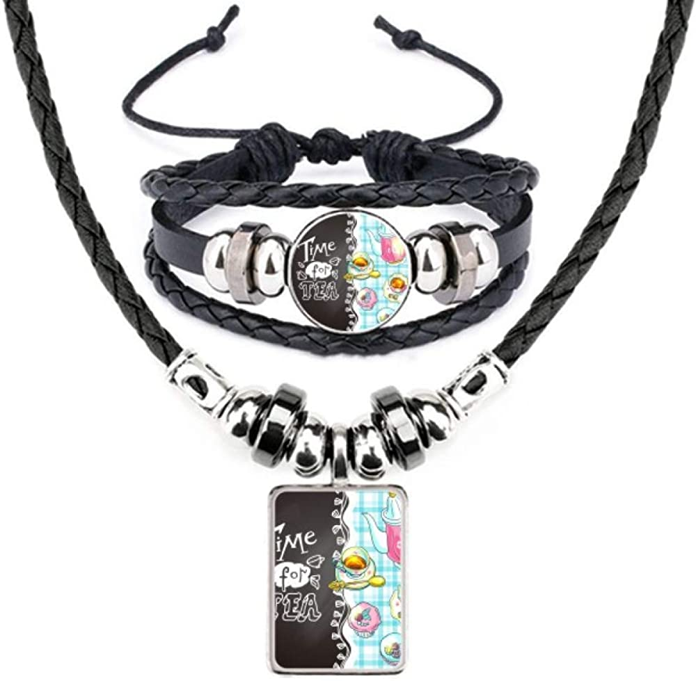 Time for tea Cupcake Teaport France Leather Necklace Bracelet Jewelry Set