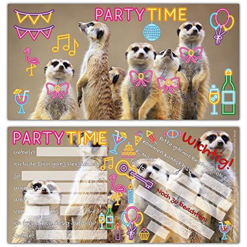 12er Set PARTY-ERDMÄNNCHEN Einladungskarten - lustige Einladungen zum Kinder-Geburtstag oder Party für Mädchen Jungen & Erwachsene von BREITENWERK