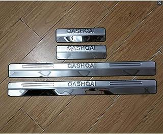 Auto Esterno Protector Strisce Adesivi Accessori,Silver per Nissan Qashqai 2014-2019 Pedale Calci Scuff Pedali di Benvenuto Threshold Bar BTSDLXX 4Pcs Acciaio Inox Soglia della Porta Battitacco