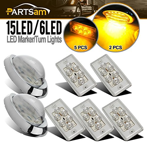 """Partsam Replacement for Volvo/Freightliner Century/Columbia Led Lights Kit Clear, 5X Rectangle Amber LED Cab Roof Top Marker Lights+2X 5-7/8"""" Teardrop Sleeper Amber Marker Lights"""