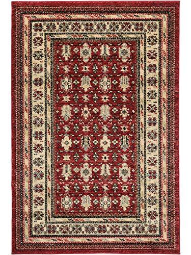 Aspect Alfombra Persa clásico Mashad bordeaban Tradicional Rojo-Negro-Beige/, Polipropileno, Red,Black and Beige, 120x170cm