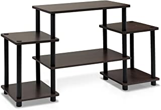 Furinno Turn-N-Tube No Tools Entertainment TV Stands, Dark Brown/Black