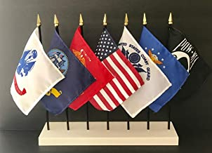 Made in The USA!! United States Military World Flag Set with Solid White Stand-7 Rayon 4