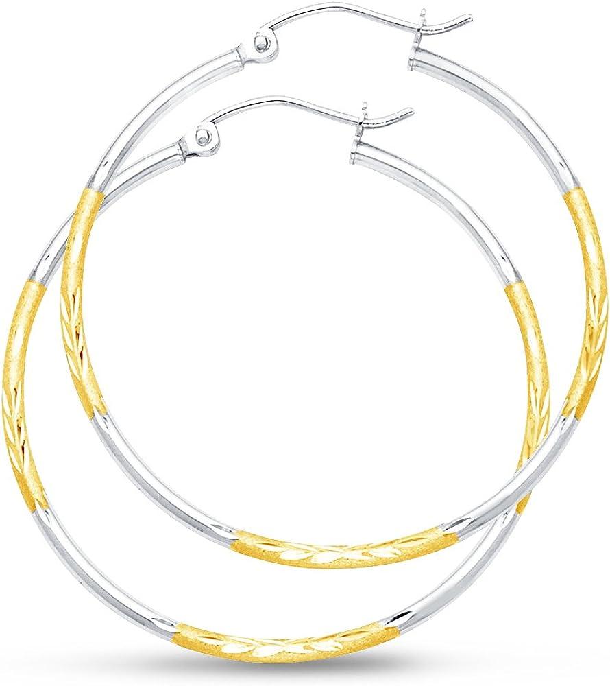 14k Two Tone White and Yellow Gold Diamond-Cut 2mm Hoop Earrings (35mm Diameter)
