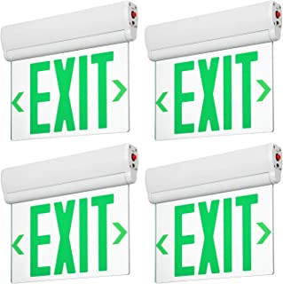 LEONLITE LED Edge Lit Green Exit Sign Single Face with Battery Backup, Rotating Panel, UL Listed, AC120V/277V, Ceiling/Left End/Back Mount Emergency Light for Hotel, Restaurant, Hospitals, Pack of 4