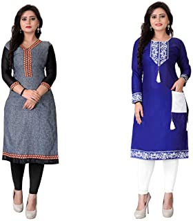 Kesari King Women's A-Line Cotton Printed Semi-stiched Kurti Material (100430, Multicolour, Free Size) - Pack of 2