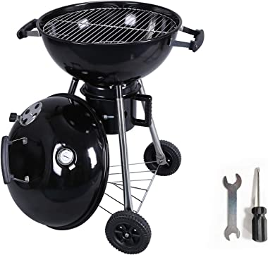 SMART EGG Charcoal Grill 18 Inch, BBQ Charcoal Grills with Wrench and Screwdriver for Family Courtyard Outdoor Party Picnic R