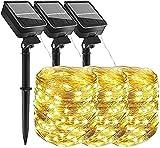 (3 pezzi ) AmmToo stringa di luce solare,10M 100 LED 8 Modalità Impermeabile Luci da Este...