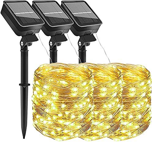 (3 pezzi ) AmmToo stringa di luce solare,10M 100 LED 8 Modalità Impermeabile Luci da Esterno/Interni Decorative per Festa, Giardino, Natale, Matrimonio (Bianco Caldo)