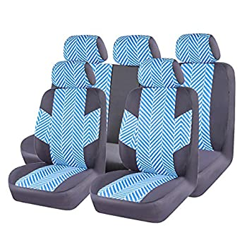 CAR PASS HOMESTYLE Linen Universal Fit Car Seat Covers with Opening Holes,Universal fit for Suvs,Cars,Trucks,Sedans,Vans,Airbag Compatible Black with Mint Blue