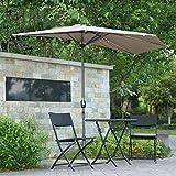 LYYJIAJU Parasolparasol Terrazze e Giardini 3m (10ft) Mezza Ombrello for Mantenere Sole Fuori di casa, UV-Protection 40, Giardino Patio Esterno semicircolare Ombrellone con manovella