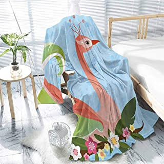 jecycleus Animal Children`s Blanket Cute Royal Lovely Cartoon Female Swan with Wings Flowers Leaves Artwork Image Art Lightweight Soft Warm and Comfortable W91 x L60 Inch Multicolor