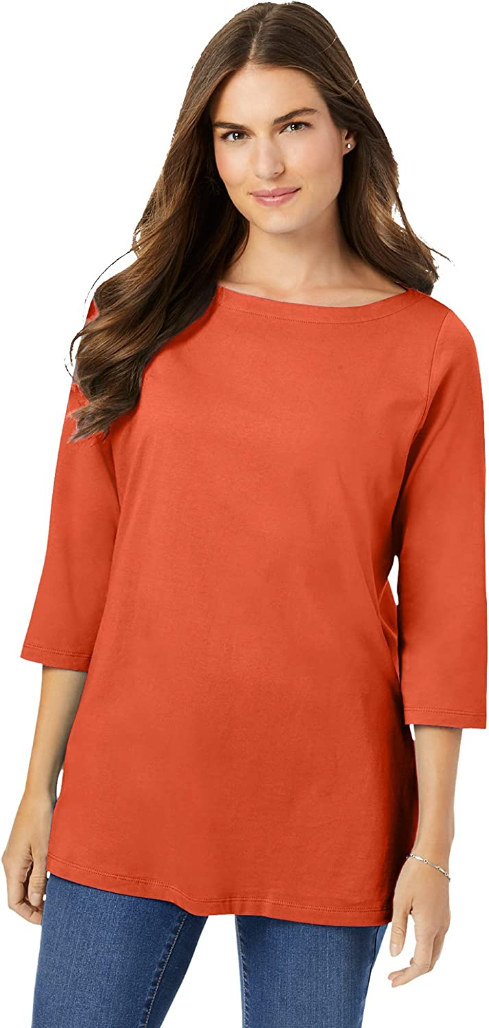 Woman Within Women's Plus Size Perfect Three-Quarter Sleeve Boat-Neck Tee Shirt
