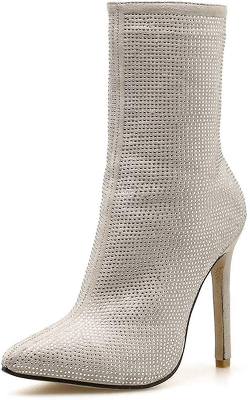 Damen Glitter Strass Strass Strass Kurzschaft Stiefelies Sexy Spitze Zehen Reißverschluss Fashion Stilettos Stiefel  0ce080