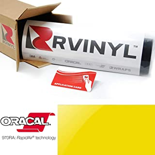 ORACAL 970RA Gloss Canary Yellow 235 Wrapping Cast Film Vehicle Car Wrap Vinyl Sheet Roll - (1ft x 5ft w/App Card)