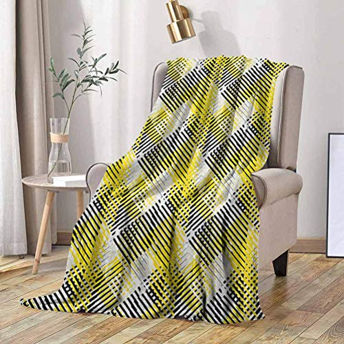 RenteriaDecor Yellow and White Blanket Geometric Pattern with Stripes Triangles Abstract Shapes 80s Style 50x65 Inch Flannel Fleece Plush Throw Blanket