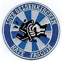 S04 Aufnäher Motiv Love Gelsenkirchen hate Facism 8 x 8 cm