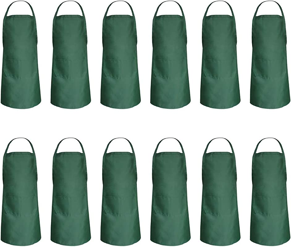 Hi Loyaya 12 Pack Bulk Aprons For Women Girls Artist With Pockets Art Bib Apron For DIY Pottery BBQ Restaurant Cook Bar Party 12 Forest Green