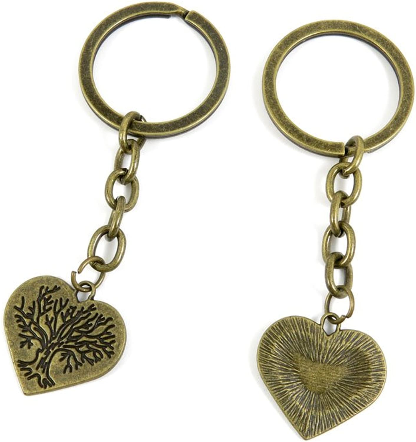 100 PCS Keyrings Keychains Key Ring Chains Tags Jewelry Findings Clasps Buckles Supplies H2KR1 Three Heart