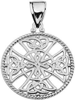 14k White Gold Trinity Knot Celtic Cross Round Rope Design Frame Pendant