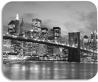 AOYEGO Night Scene Mouse Pad Brooklyn Bridge Manhattan Skyline New York City Gaming Mousepad Rubber Large Pad Non-Slip for...