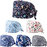 Geyoga 6 Pieces Working Hat with Buttons Adjustable Sweatband Bouffant Hats Unisex Tie Back Hats (Floral Pattern)