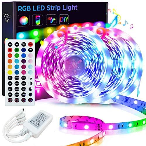 50FT/15M LED Strip Lights Goadrom RGB LED Light Strip Music Sync RGB LED Strip 5050 Color Changing LED Strip Light 44Key Remote Sensitive Builtin Mic LED Lights for Bedroom Home Party3x164FT