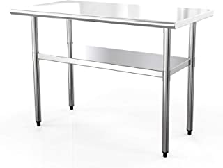 Nurxiovo Work Table Kitchen Prep Workbench Stainless 24 x 48 Commercial Prep Table for Shop Home Industrial Restaurant Foo...