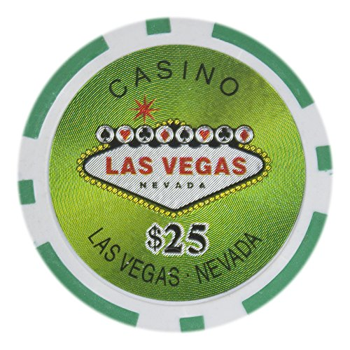 Brybelly Las Vegas Casino Poker Chip Heavyweight 14-Gram Clay Composite – Pack of 50 ($25 Green)