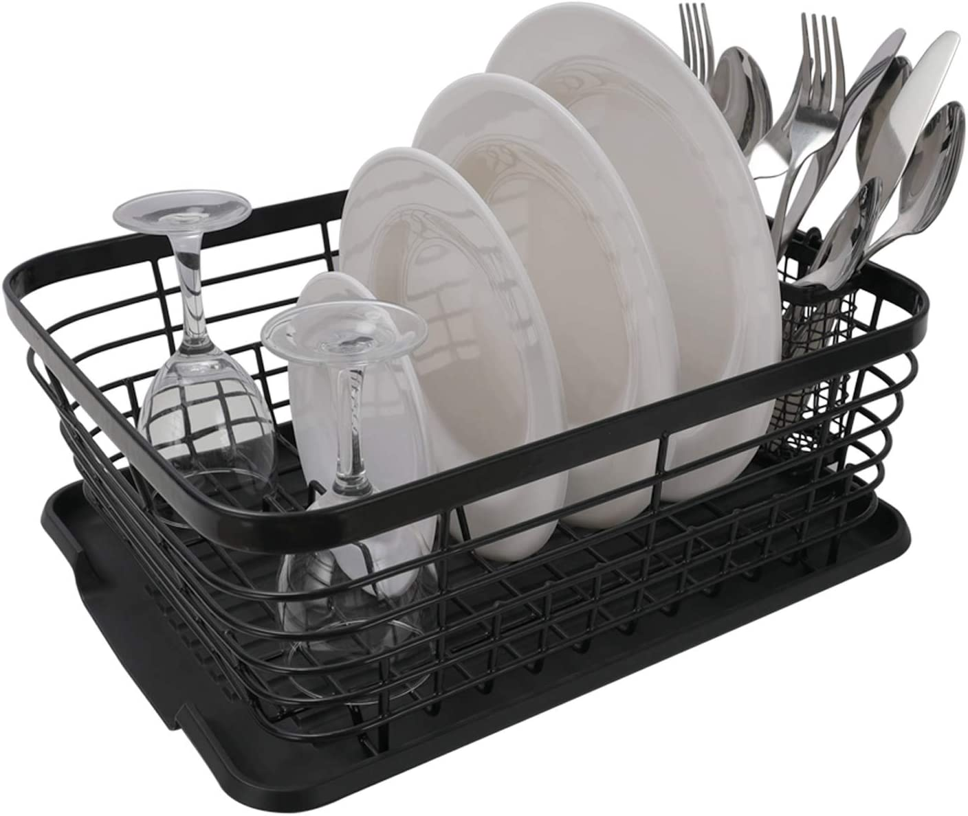 Esylife Kitchen Sink Dish Drainer Drying Rack With Drip Tray And Full Mesh Silverware Basket Black Amazon Co Uk Home Kitchen