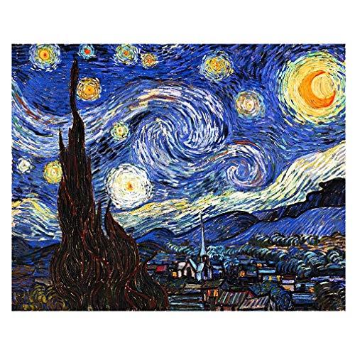 LegendArte Stampe su Tela - Vincent Van Gogh Notte Stellata, cm. 50x70 - Quadro su Tela, Decorazione Parete