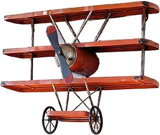 Koocasd Estanterías Loft Industrial Viento Vintage Aviones Cabeza Mural Estante estantería Retro Hierro avión ala tablilla...