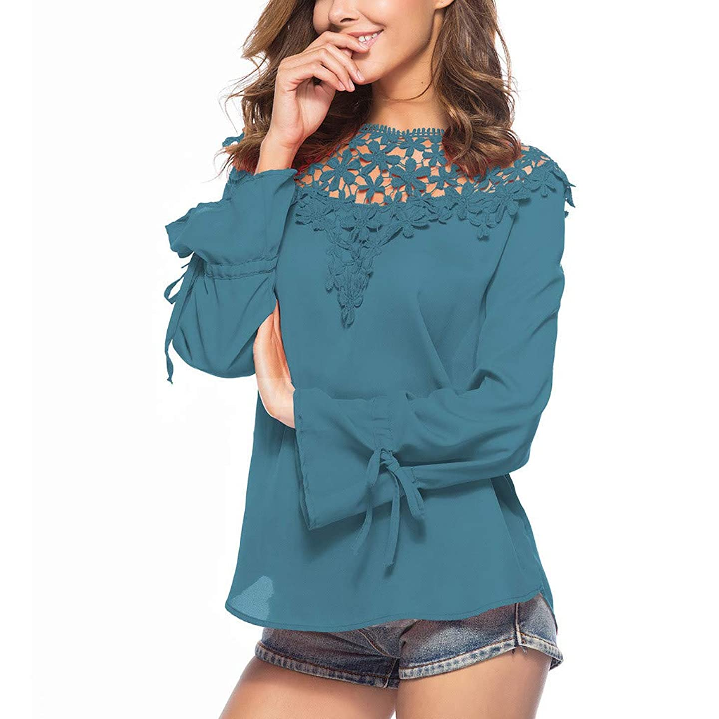 AIMTOPPY Gift Idea Lady Chiffon Blouses Lace Patchwork Hollow Out Long Sleeve T-Shirt Womens Spring Solid Color Tops