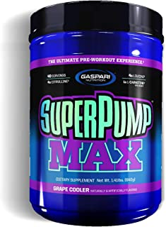 Gaspari Nutrition Super Pump Max, Pre Workout Supplement 40 Servings, Non-Habit-Forming, Sustained Energy & Nitric Oxide B...