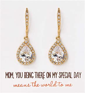 A+O Mother of the bride Gift Drop Earrings or Jewelry set in Silver, Yellow Gold, Rose Gold
