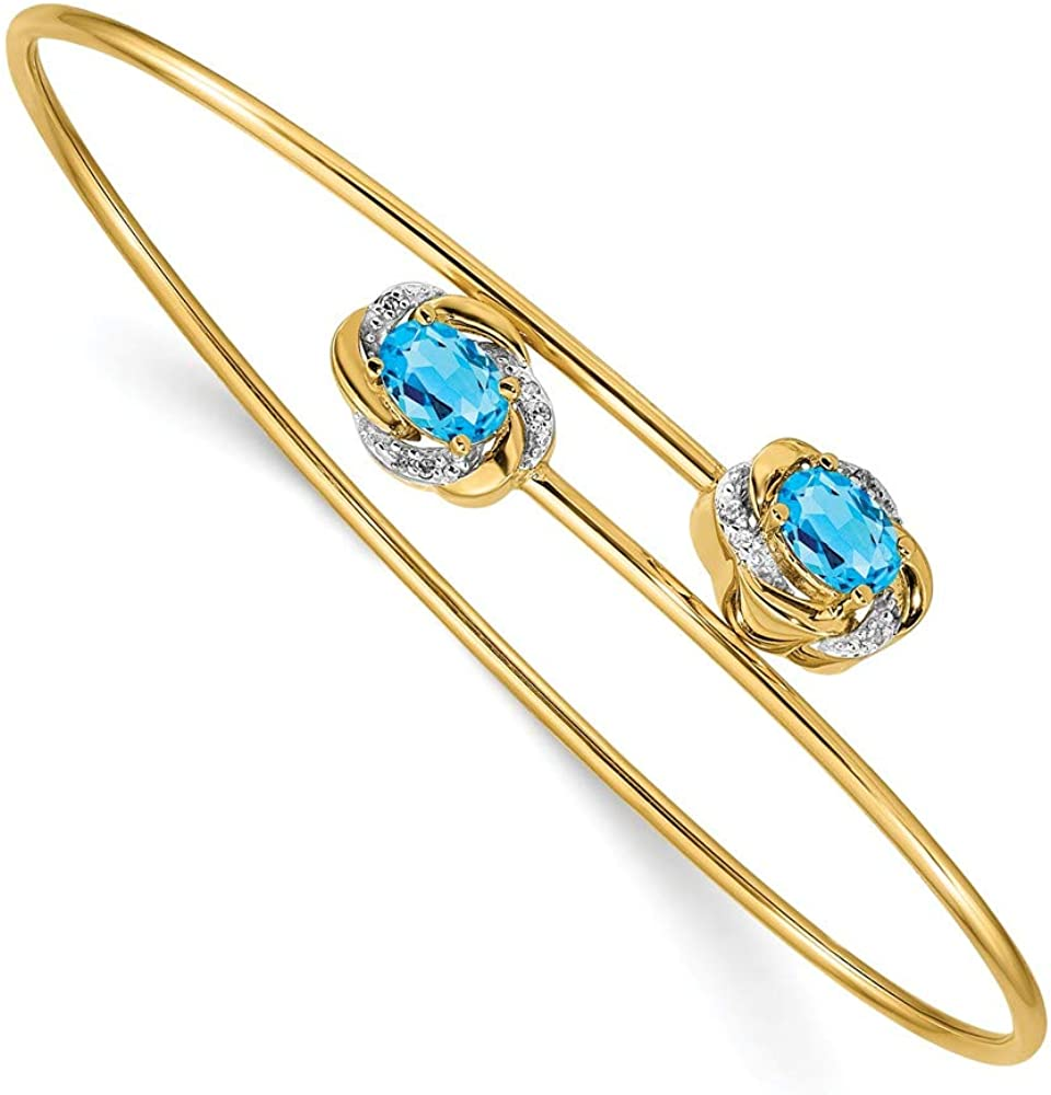 Solid 14k Yellow Gold 0.03ct Diamond and 1.1ct. Blue Topaz Flexible Bangle Cuff Bracelet 7