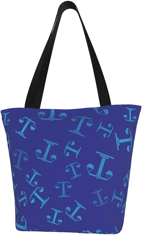 Zodiac Constellation Charm Stars Libra Blue Themed Printed Women Canvas Handbag Zipper Shoulder Bag Work Booksbag Tote Purse Leisure Hobo Bag For Shopping