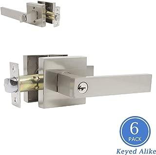 Keyed Alike Combo Pack Entry Door Levers, Front Door Handleset Brushed Nickel Exterior Door Locks with Keys, Heavy Duty Drop Style Door Handles, Combo Pack of 6