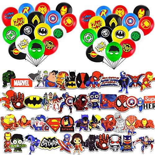JINGYOU Superhelden Party Ballons,Superheld Luftballons,Multicolor Comic Slogans Ballons,Superheld Luftballons Latex Luftballons,Mehrfarbig Latex Luftballons,Avengers Party Dekorationen