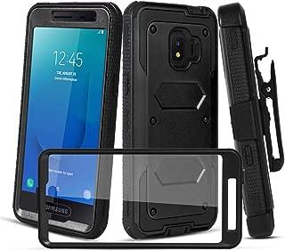 CaseTank for Samsung Galaxy J2 Case,Galaxy J2 Core Case/Galaxy J2 Dash Case/Galaxy j2 Pure,Galaxy J260,Galaxy J2 Shine Case W Built-in Screen Protector Armor Swivel Combo Holster Kickstand, Black