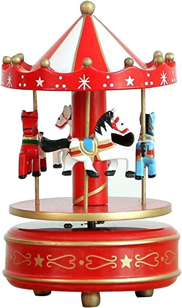 HorBous Merry GO Round Carousel Wooden Clockwork Music Box Gift Decoration With Music Of Castle In The Sky 6 Colors New Red