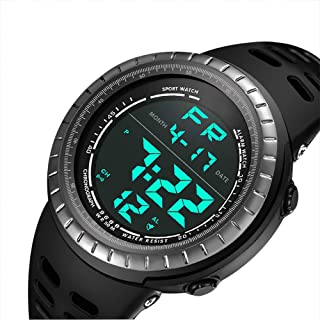 Mens Digital Sport Watch, Military Black Watches, Army Electronic Casual Wristwatch Luminous Calendar Stopwatch