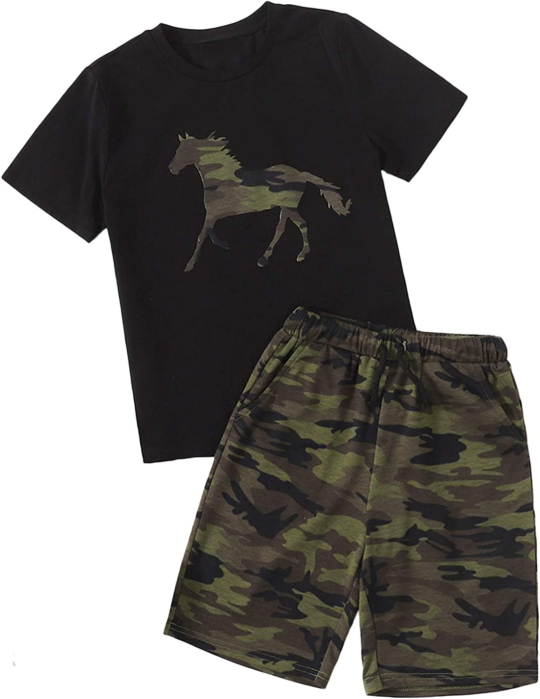 Romwe Portland Mall Boy's Summer Camo Print Short Sleeve Shirt T and Se Shorts Genuine Free Shipping