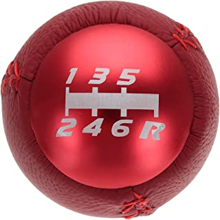 5/6 Speed Car Round Ball Manual Gear Shift Knob PU Leather Shifter Lever For Civic Type R FK2 (Red 6 Speed)