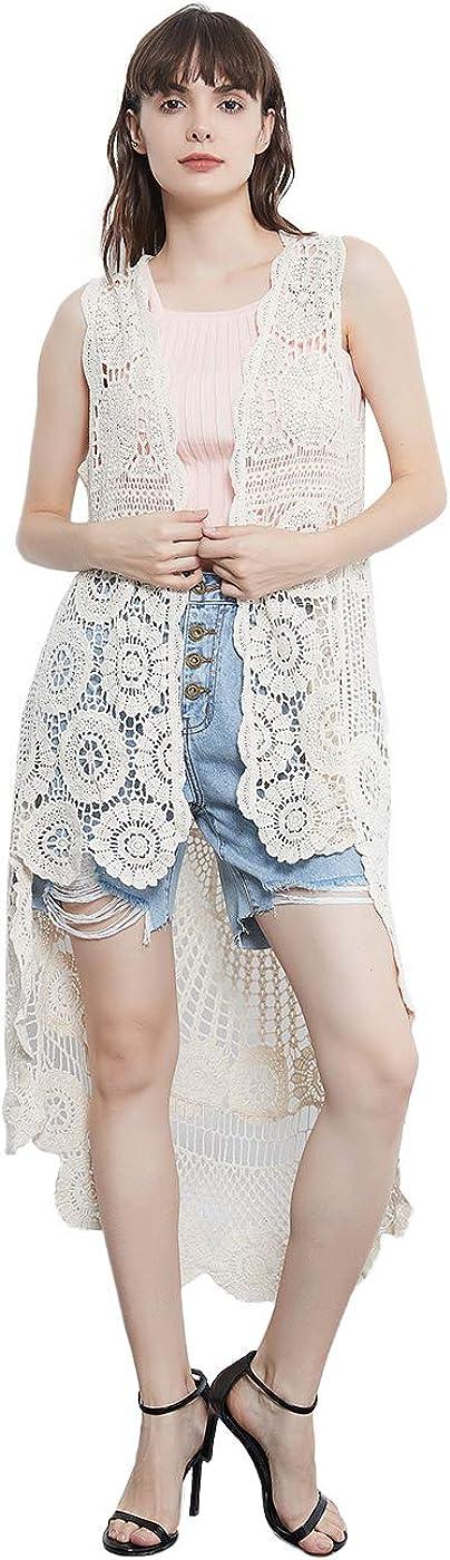 Anna-Kaci Womens Hippie Bohemian Floral Crochet Lace Trim Sleeveless Vest Cardigan