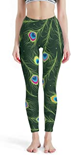 B3DHV-9 -Indian Style Yoga Pants Women Designs, Mandala Design Leggings Black Peacock Feather Patterns Printed Summer Capri Tights Lands End Capris Pants for Women